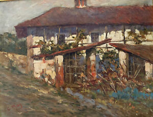 Original Vintage Oil painting Europe d G.May  Country House Expressionist