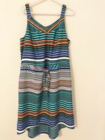 Merona Womens Size L Large Striped Sleeveless Dress Pockets