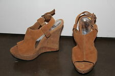 BEBE Tan Suede Peep Toe Platform Wedge Sandals Size 6.5 NEW
