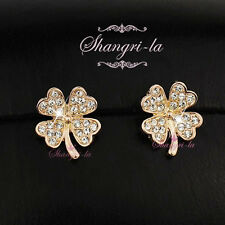 18K GOLD GP Four Leaf Clover Stud EARRINGS use Gen Swarovski CRYSTAL L270