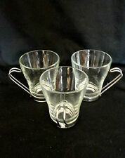 3 Cappuccino VITROSAX Italy CLEAR GLASS w Chrome HOLDER Coffee Cup Mugs w holder