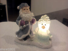 Santa Figurine, w/ a Glimmer In His Eye & Snowman at His Side -- Tea Candle New