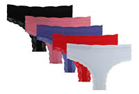 Pack 5 Microfibre G3 Thongs Lace NO VPL Ladies Knickers Briefs Stretchy Seamless