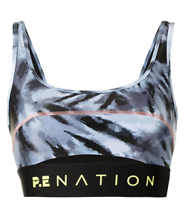 PE NATION TOP SPIN SPORTS BRA - BLUE - RECYCLED POLYESTER - MEDIUM - RRP £100.00