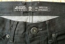 MENS BLACK JEANS. 32W 32L. STRAIGHT CUT. BURTONS. ONLY WORN ONCE!