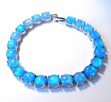 EXQUISITE  BLUE FIRE OPAL SILVER BRACELET 7.5""
