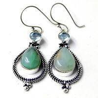 Peruvian Opal Blue Topaz 925 Sterling Silver Plated Handmade Jewelry Earring 8 g