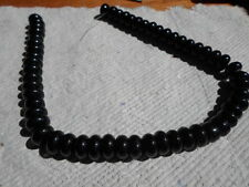 Strand of Glass Spacer Beads ~ Black ~ Disc ~ 10mm