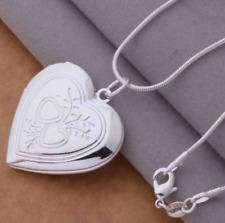 "Pendant Necklace 18""+Velvet Pouch Gift Wholesale Silver Heart Photo Locket"