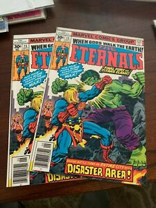 Eternals #15 (Sep, 1977 Marvel) Jack Kirby art!  LOT OF 2 BOOKS! NM ~9.4s!