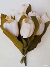 "1x 11"" Wedding White TULIP Bush, Artificial Silk Flower, Plant /T10"