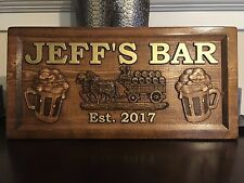 "11"" x 23"" x 3/4"" Wood Carved Personalized Bar Sign, Man Cave Sign, Pub Sign"