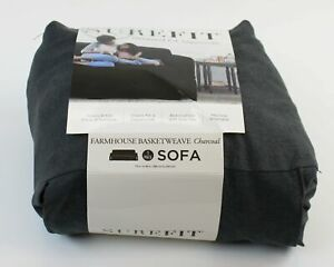 SUREFIT Sofa Slipcover NEW IN PACKAGE Relaxed Fit Farmhouse Basketweave Charcoal