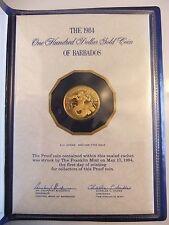 1984 $100 Gold Coin of Barbados 500/1000 Fine Gold in Original Case