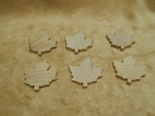 Hard Wood Wooden Unfinished Fall Autumn Maple Leaves Leaf Lot of 6