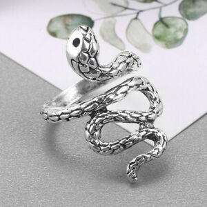 Gothic Punk 925 Silver Men Women Snake Ring Party Jewelry Open Adjustable Rings