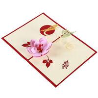 Birthday Greeting Card 3D Flower Butterfly Valentine Gift Christmas Birthday Q