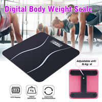 Digital Body Weight Scale 396lb Electronic LCD Bathroom Fitness Tempered Glass