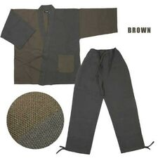 Tradicional Japonés Algodón Hombre Bicolor Diseño Ropa de Trabajo L Marrón 8ac62853081e