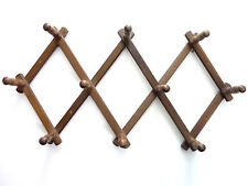 Vintage Wood Peg Expanding Wall Hanging Accordion Rack French Style