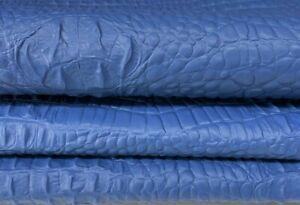 BLUE 3D CROCODILE ALLIGATOR TEXTURE on Lambskin leather skins 7sqf 0.7mm #A7387