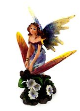 Fairy Riding Dragonfly Figurine Glitter Accents Mythical Fantasy Figurine A