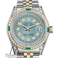 Ladies Rolex SS & Gold 26mm Datejust Ice Blue String Emerald Diamond Dial Watch