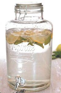 Drink Dispenser Jug LARGE 8 Litre Glass With Tap & Lid Beverage Dispenser