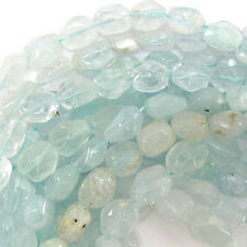 "9-13mm natural aquamarine freeform nugget beads 15.5"" strand"