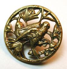 "Antique Pierced Brass Button Parrot in Tree Design - 11/16"""