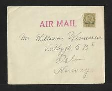 BAHRAIN TO NORWAY AIR MAIL  COVER 1939 SCARCE