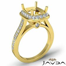 0.70ct Diamond Engagement Ring 18k Yellow Gold Cushion Semi Mount Halo Pave Set