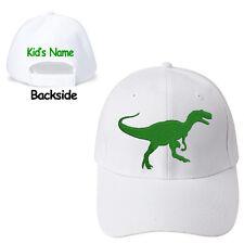 Youth Junior size Dinosaur Tyrannosaurus White Baseball Cap & Kid's Name on Back