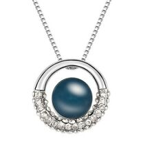 18K White Gold Plated Made with Swarovski Elements Navy Pearl Circle Necklace