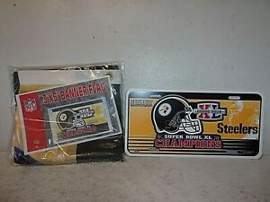 Pittsburgh Steelers Super Bowl XL Champions 3x5 Banner Flag and License Plate