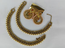 Indian Payal Chain Ankle Bracelet Combo Earrings Anklet Boho Barefoot Jewelry