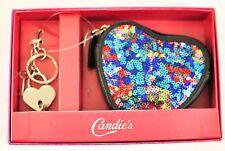 girls Candie's coin purse heart shape black w/multi color sequins zipper key ch