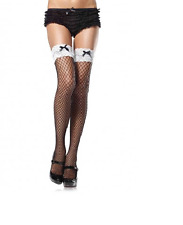 Thigh high stockings with large fishnet, white lace tops and satin bow