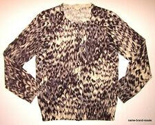 J CREW 100% Merino Wool Womens Medium M Cardigan Sweater Animal Print