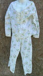Laura Ashley Floral Pajama Set cotton lace medium