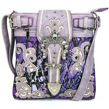 Lavender Blue Black Western Camouflage Buckle Body Concealed Carry Messenger Bag