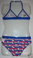 Sanrio Hello Kitty Blue & Pink 2 Pc Piece Halter Bikini Swimsuit Medium 7-8 NWT