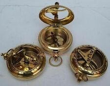 Lot Of 3 Collectible Vintage Maritime Brass Push Button Sundial Pocket Compass