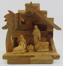 Olive Wood Holy Family Christmas Nativity Set W/ Stable Made in Bethlehem Israel