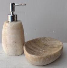 Set bagno in Onice composto da dispenser porta sapone  wc stone marble white