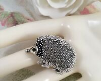 Vintage Jewellery Large Silver Hedgehog Brooch Pin with Black Crystals Jewelry