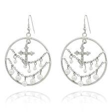 Ohrschmuck Ohrringe Creolen Kreuz Perlen