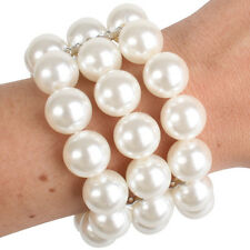 Glossy Pearl three 3 row bracelet flapper formal 50s 20s 1920s costume accessory