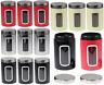 3pc Glass Tea Coffee Sugar Jar Kitchen Storage Canister Air Tight Lids S/Steel