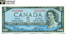 Raw Bank of Canada 1954 Devil's Face $5 Note Serial # G/C5313645